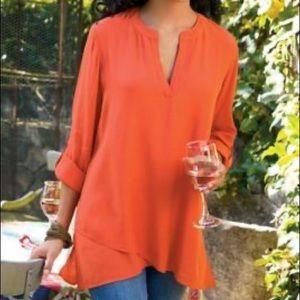 Soft surroundings orange asymmetrical tunic M